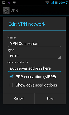 how to setup VPN in android